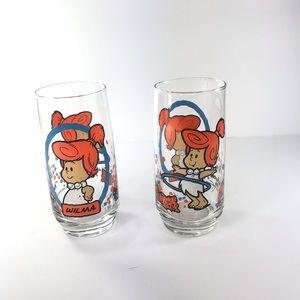 2 VINTAGE 1986 The Flinestones Wilma Glasses